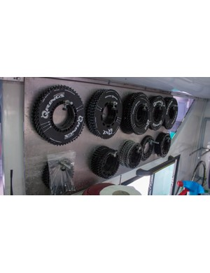 A wall rack holds every Rotor ring permutation a pro needs