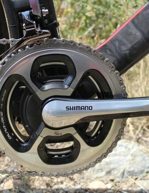 Dennis had a 56/44 on his Shimano SRM crank