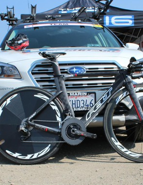 Kristin Armstrong won the opening time trial of the inaugural Women's USA Pro Challenge aboard this Felt with SRAM's still-not-released wireless TT group