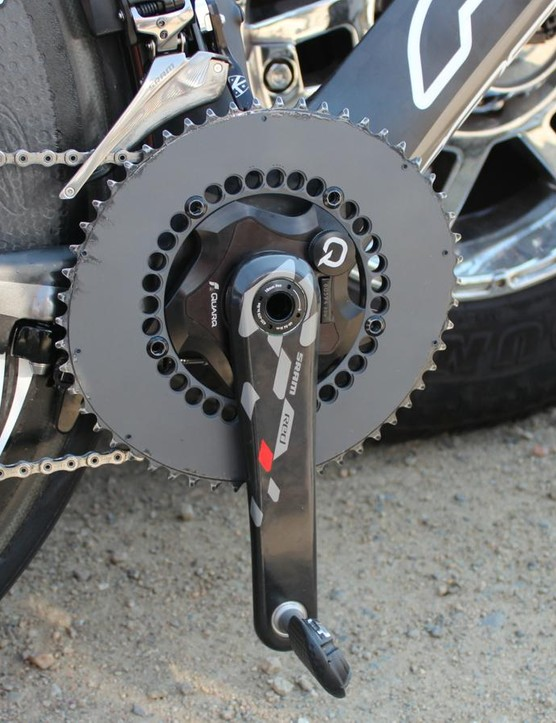 Kristin Armstrong's SRAM Quarq with unbranded rings. Rotor isn't a team sponsor