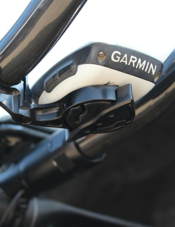 K-Edge accoutrements can be found across Armstrong's bike, such as this Garmin mount