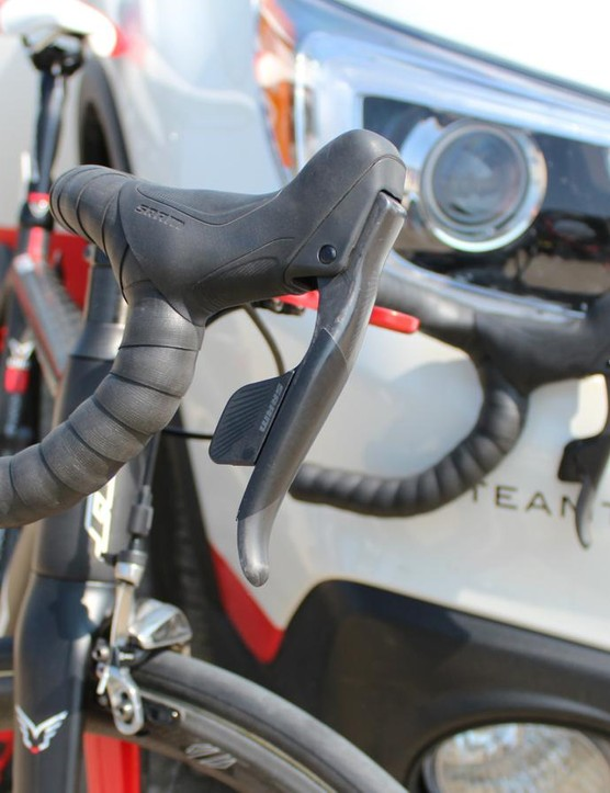 SRAM eTap wireless road group made numerous appearances at the USA Pro Challenge, including on Armstrong's road bike