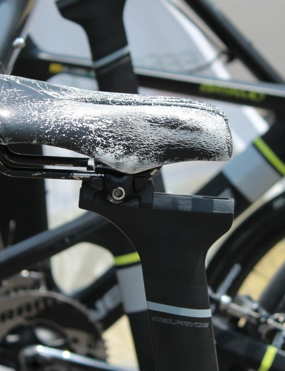 Funny bikes bring out the funny saddle arrangements. This is SmartStop rider Evan Huffman's bike