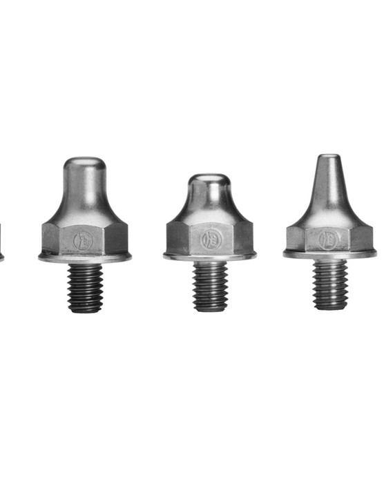 The six Horst Spike models with a Presta valve cap on the far right for size comparison