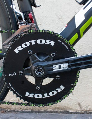 Some of the team use Rotor's Q-Rings, but Arroyo seems to prefer the more conventional NoQ.
