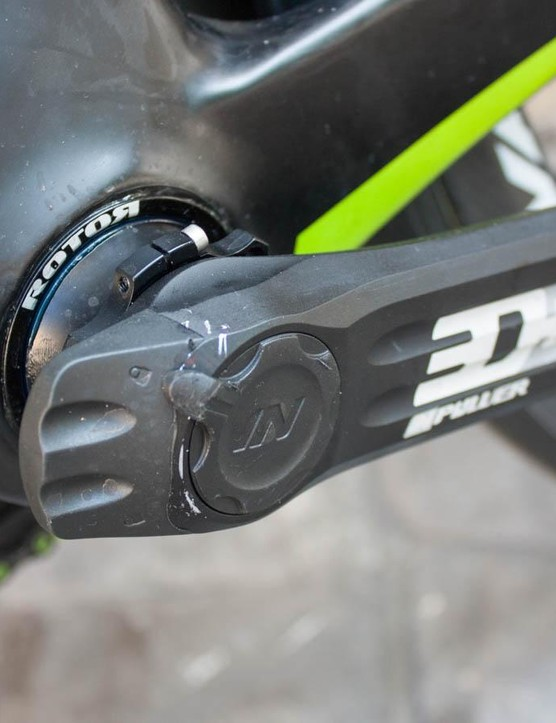 With such a light frame, there's no penalty to fitting a power meter. This is Rotor's 3D+ INpower unit