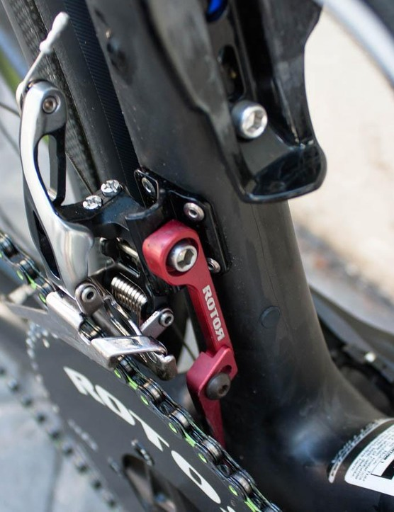 Although the new SL has a built-in chain-catcher mount, some of the riders are using a Rotor unit to match their cranks
