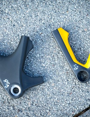 Old versus new rear non-drive side rear drop out. The new, lighter Exceed uses the brake caliper as a structural part of the frame