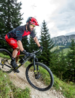 Our man Rob putting the Exceed through it's paces on a very short piece of German singletrack