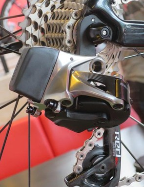 The Red eTap rear derailleur houses its own battery at the rear of the main body