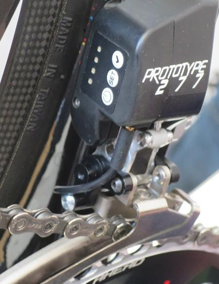 The front derailleur 'Prototype 277' features a bank of four LEDs alongside a power button, set button and check button