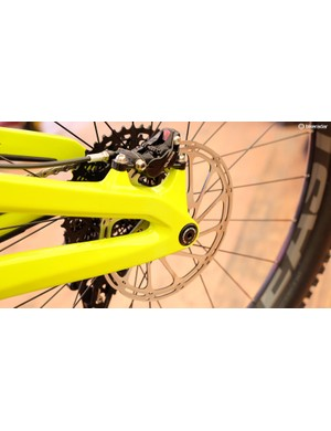 The Insurgent has post-mounts for a 180mm rear brake and rotor
