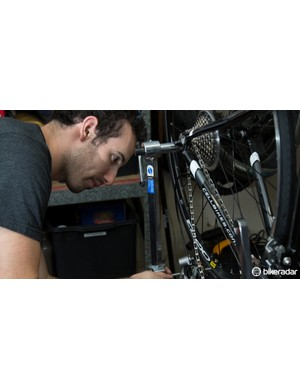 A derailleur hanger straightening tool is helpful in diagnosing shift issues