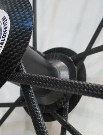 The Meilenstein Pros' front spokes are 3D carbon woven into a sock like shape