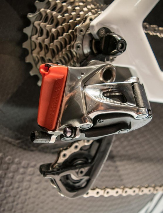 SRAM's eTap rear derailleur, complete with battery cover