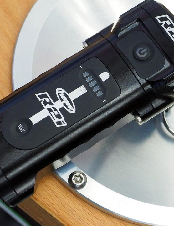 Separate indicators on the top of the new Hope R2i light display battery life and light output settings
