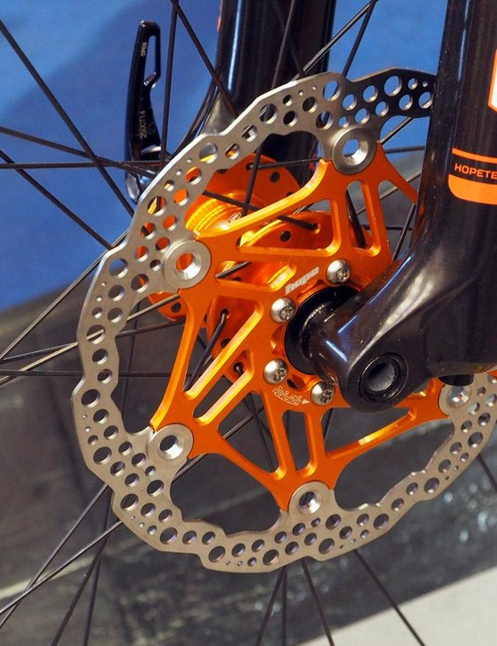 Hope's show bike included a few items that won't actually be offered in orange, such as these disc brake rotors