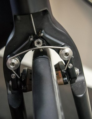 Here's the brake without the fairing – it's lighter than a Dura-Ace caliper