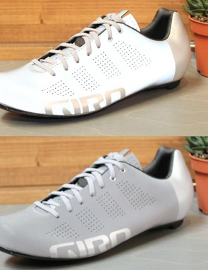 The Giro Empire ACC Reflective lace-up shoe appears gray in daylight and bright white under a car's headlights