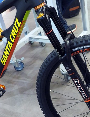 The RockShox Pike fork that Hope included on its gorgeous Santa Cruz Nomad CC Eurobike showpiece looked fantastic - but hey, what's that sticking out of the crown?