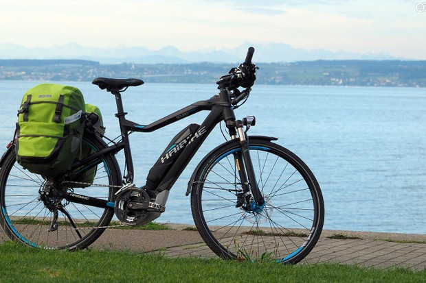 Getting myself and my gear to and from Eurobike was made much more pleasant this year by trading in a car for an e-bike. Haibike's Sduro Trekking RC is hardly cheap but it's well outfitted and features Yamaha's excellent 250W mid-motor assist
