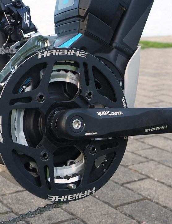 Most mid-motor e-bikes use just a single chainring but the Yamaha system on the Haibike Sduro has two, providing a wider and more useful range