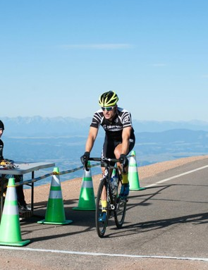 The finish line for the Pikes Peak Hill Climb is a low-key affair, but having the road free of cars for the climb and the descent is a treat