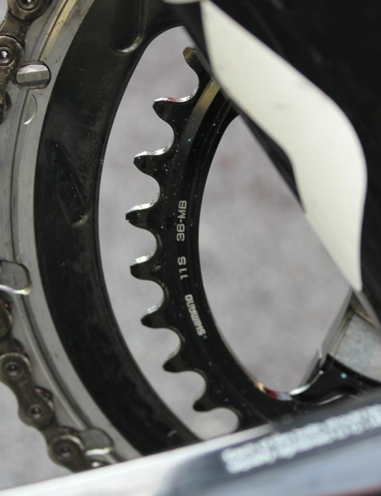Shimano's new cranks let you mix and match chainrings, such as this 53 and 36
