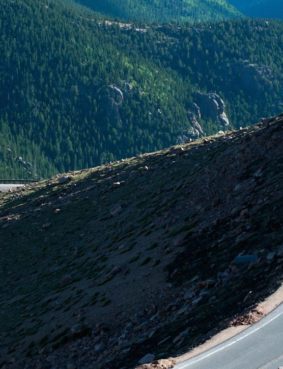 The road averages seven percent as it ascends 5,000ft in 12 miles