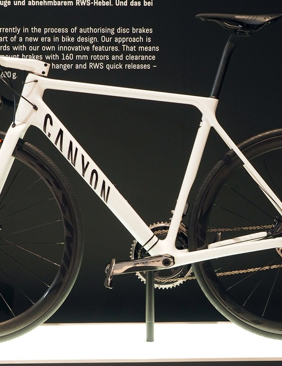 Canyon showed off a disc variant of its new Ultimate CF SLX. Prototypes will be supplied to the Katusha and Movistar teams for testing, with an expected retail release some time in the coming months
