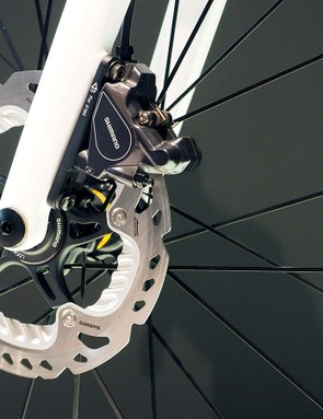 Canyon's Ultimate CF SLX Disc prototype will take either 140mm or 160mm-diameter rotors