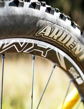 Top spec Maxxis treads offer plenty of grip and control