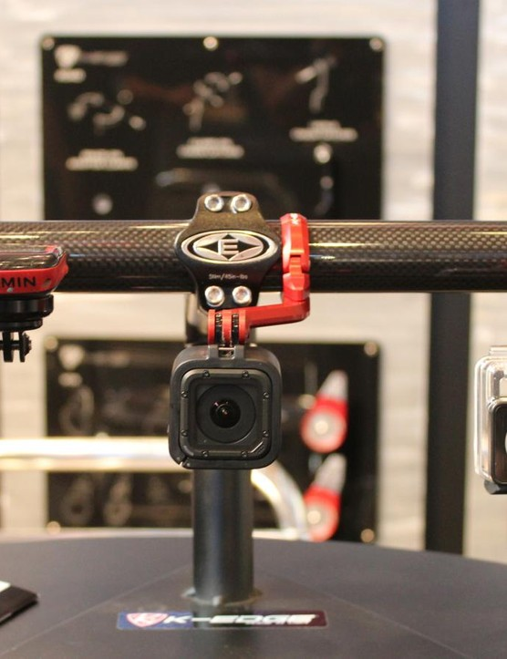 K-Edge will have a new, one-bolt, centered base clamp (shown at center with GoPro Hero Session) for all its mounts beginning in January