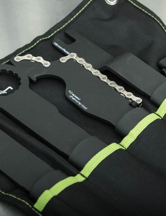 The Specialist wrench set comes in a neat roll-up tool pouch