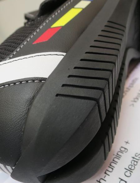 The sole is heavily treaded and well cushioned and protected for walking in, yet still stiff enough to ride