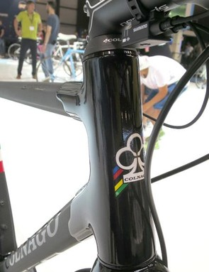 The gloss black lugs and geometric tube shapes mark this out as a Colnago