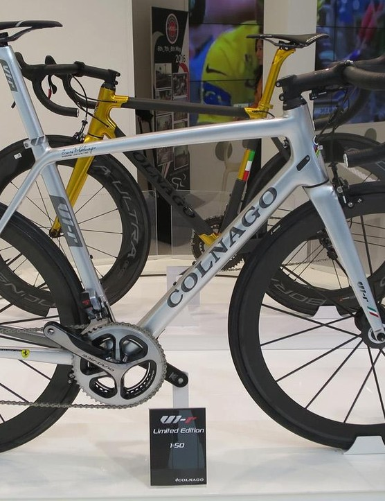 Colnago's V1-r limited editions are tech-influenced, as this metallic silver Di2 and Lightweight-equipped model shows