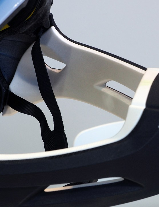 Lazer only showed a prototype of the Revolution FF at Eurobike but when it hits production, the white portions of the chin bar will be made of soft EVA foam