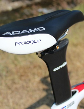 The ISM Adamo Prologue saddle is a fairly common sight on TT bikes these days