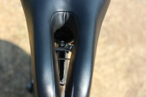 Pulling the rails together also tightens up the saddle's frontal width