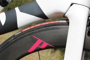 The Dash Aero 60 front wheel, shod in Vittoria rubber