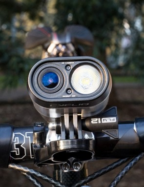 Pictured in a Bar Fly 2 mount, this is the cleanest solution for our cockpit – but we're not too keen on giving up our out-in-front Garmin mount. The ideal solution may be one of the many out-in-front mounts that features a Garmin mount on the bottom