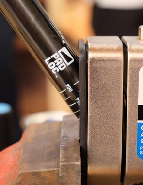 Park Tool has developed a cutting guide that will allow riders to cut the 30 degree PadLoc miter into their existing handlebars