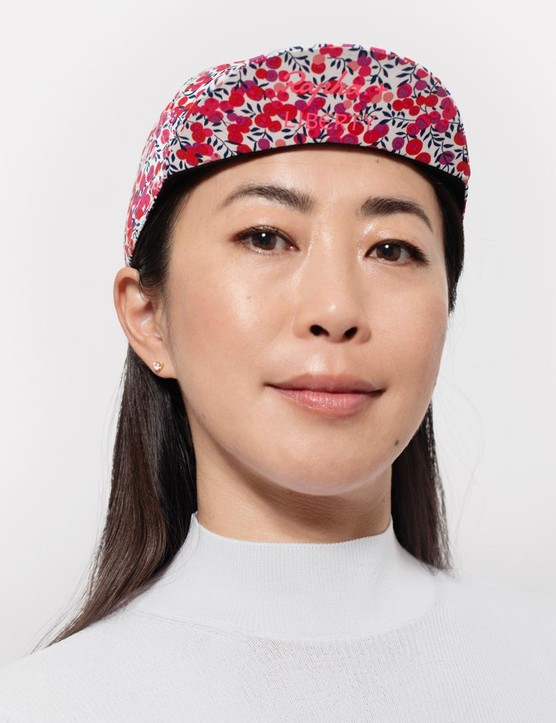 The first limited edition Rapha cycle cap features the Liberty print 'Wiltshire' and is modelled by London-based writer and editor Yoko Aoki