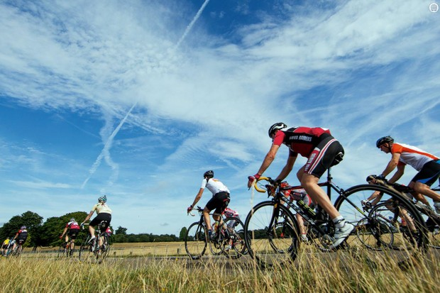 Riders at the 2015 Prudential RideLondon Surrey 100 enjoy some blue sky and open country