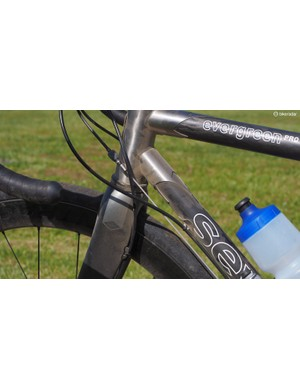 Had I had my choice, I would have routed the front brake cable on the front edge of the fork blade, not the trailing one. It might also have been nice to have another anchor point for the rear brake housing closer to the head tube but even as is, this setup worked well