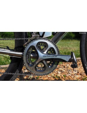The challenging terrain of Baller's Ride demanded a wide range of gearing. I went with for the mid-compact 52/36-tooth chainrings on Shimano's Dura-Ace crankset