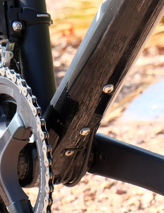 There's a third set of water bottle bosses on the underside of the downtube
