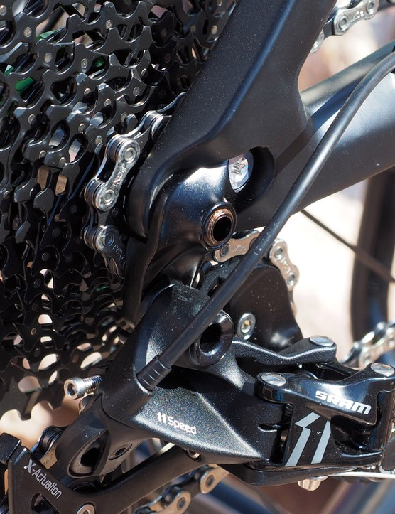 The replaceable rear derailleur hanger is a refreshingly stout unit