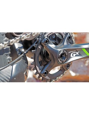 Turner builds the RFX with a PF30 bottom bracket shell and molded-in ISCG05 chain guide tabs. Some might lament the use of a press-fit shell but Turner insists the tolerances are sufficiently tight for creak-free running